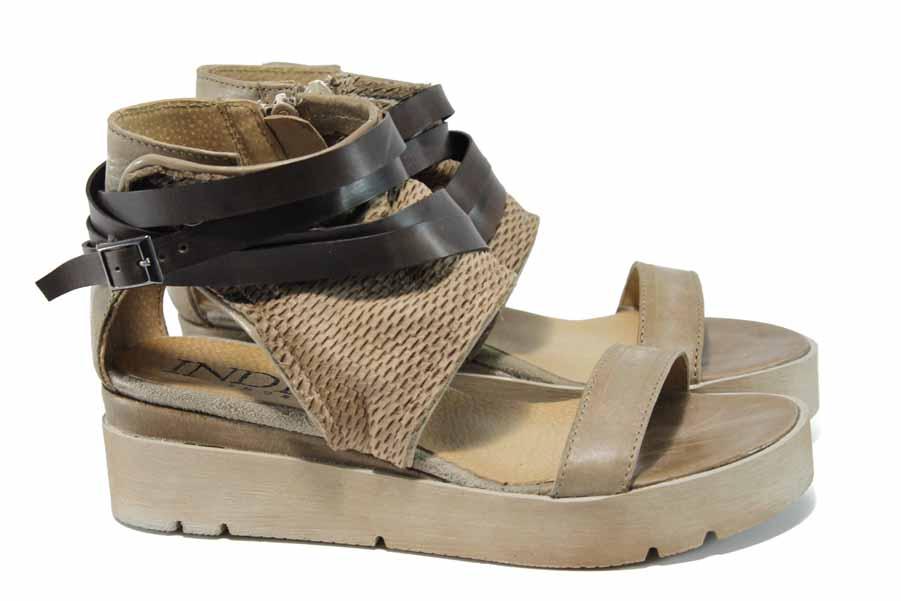 Дамски сандали - естествена кожа - бежови - EO-12787
