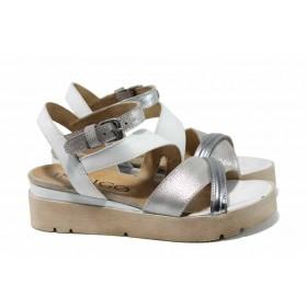Дамски сандали - естествена кожа - бели - EO-12785