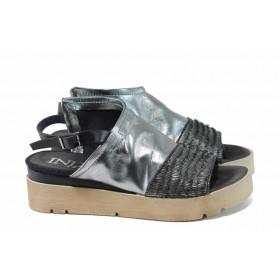 Дамски сандали - естествена кожа - сребро - EO-12786