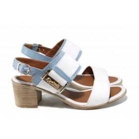 Дамски сандали - естествена кожа - бели - EO-12791