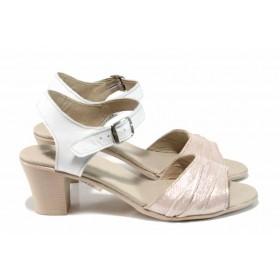 Дамски сандали - естествена кожа - розови - EO-12799
