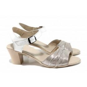 Дамски сандали - естествена кожа - бежови - EO-12798