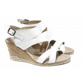 Дамски сандали - естествена кожа - бели - EO-12794