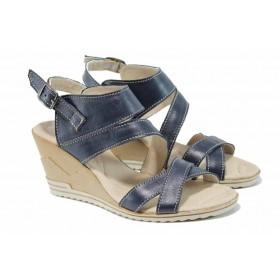 Дамски сандали - естествена кожа - сини - EO-12793