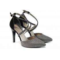 Дамски обувки на висок ток - висококачествена еко-кожа - сребро - EO-12804