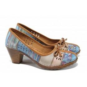 Дамски обувки на среден ток - естествена кожа - сини - EO-12816
