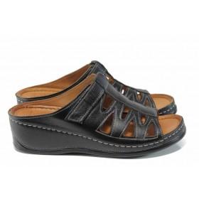 Дамски чехли - естествена кожа - черни - EO-12812