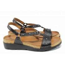 Дамски сандали - естествена кожа - черни - EO-12844