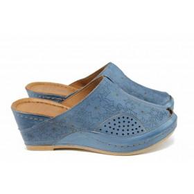 Дамски чехли - естествена кожа - сини - EO-12829