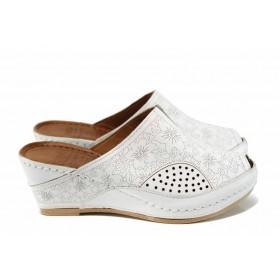 Дамски чехли - естествена кожа - бели - EO-12830