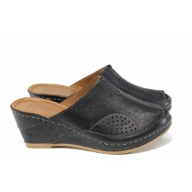 Дамски чехли - естествена кожа - черни - EO-12831