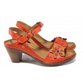 Дамски сандали - естествена кожа - червени - EO-12837