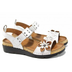 Дамски сандали - естествена кожа - бели - EO-12842