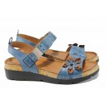 Дамски сандали - естествена кожа - сини - EO-12843