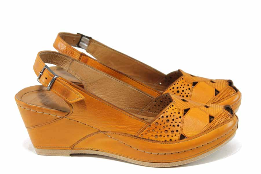 Дамски сандали - естествена кожа - оранжеви - EO-12838