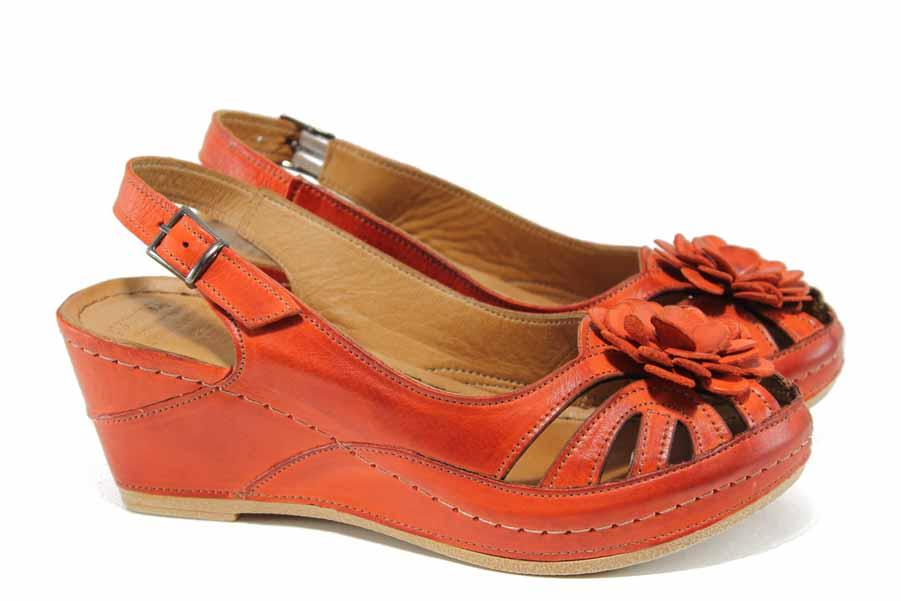 Дамски сандали - естествена кожа - червени - EO-12839