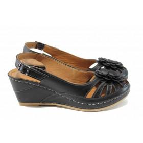 Дамски сандали - естествена кожа - черни - EO-12840