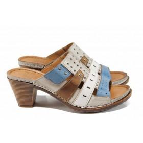 Дамски чехли - естествена кожа - бежови - EO-12832