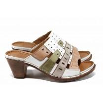 Дамски чехли - естествена кожа - бели - EO-12833