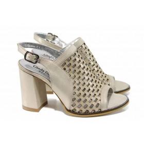 Дамски сандали - естествена кожа - бежови - EO-12849