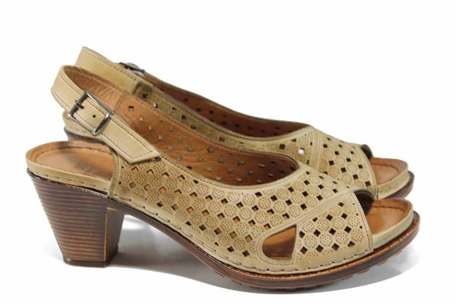 Дамски сандали - естествена кожа - бежови - EO-12850