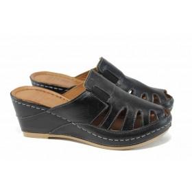 Дамски чехли - естествена кожа - черни - EO-12853