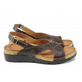 Дамски сандали - естествена кожа - кафяви - EO-12852