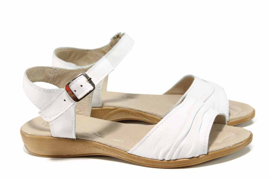 Дамски сандали - естествена кожа - бели - EO-12881