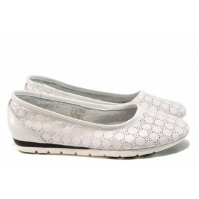 Равни дамски обувки - естествена кожа - бели - EO-12877