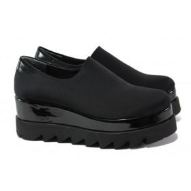 Дамски обувки на платформа - висококачествен текстилен материал - черни - EO-12927