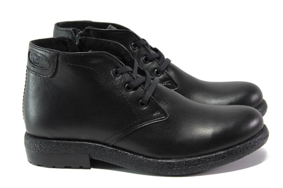 Дамски боти - естествена кожа - черни - EO-12923