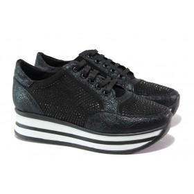 Дамски спортни обувки - еко-кожа с текстил - черни - EO-12970