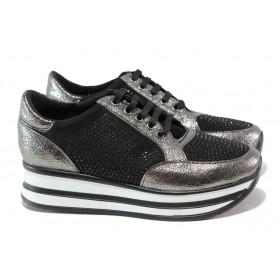 Дамски спортни обувки - еко-кожа с текстил - сиви - EO-12969