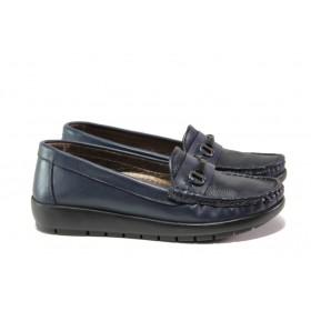 Равни дамски обувки - естествена кожа - сини - EO-12962