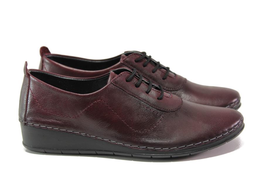 Равни дамски обувки - естествена кожа - бордо - EO-12958