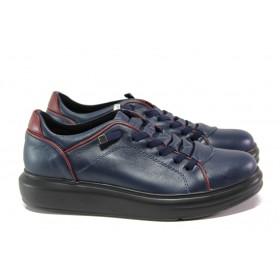 Равни дамски обувки - естествена кожа - тъмносин - EO-12961