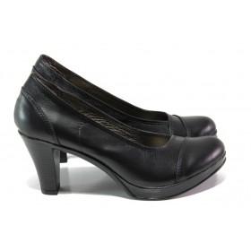 Дамски обувки на висок ток - естествена кожа - черни - EO-12995