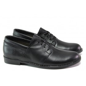 Равни дамски обувки - естествена кожа - черни - EO-12996
