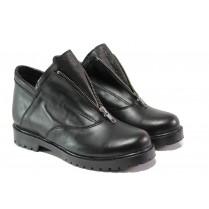 Дамски боти - естествена кожа - черни - EO-12989