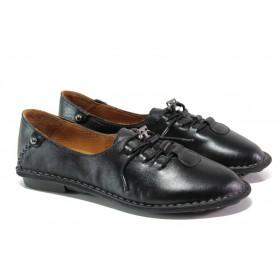 Равни дамски обувки - естествена кожа - черни - EO-13042