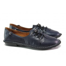 Равни дамски обувки - естествена кожа - тъмносин - EO-13041