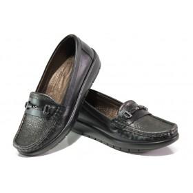 Равни дамски обувки - естествена кожа - черни - EO-13040