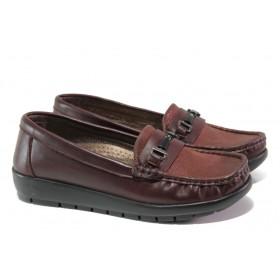 Равни дамски обувки - естествена кожа - бордо - EO-13039