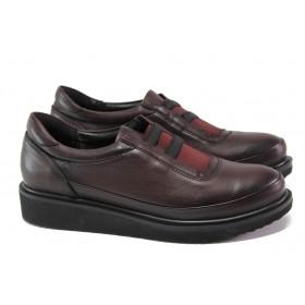 Дамски обувки на платформа - естествена кожа - бордо - EO-13038