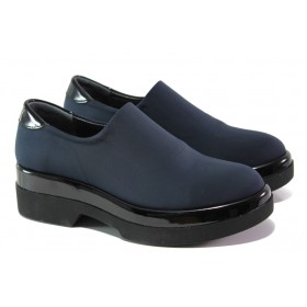 Дамски обувки на платформа - висококачествен текстилен материал - тъмносин - EO-13045