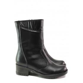 Дамски боти - естествена кожа - черни - EO-13056
