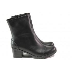 Дамски боти - естествена кожа - черни - EO-13055