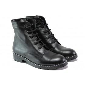 Дамски боти - естествена кожа - черни - EO-13060