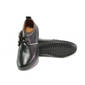 Равни дамски обувки - естествена кожа - черни - EO-13059