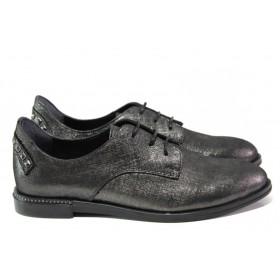 Равни дамски обувки - естествена кожа - сиви - EO-13072